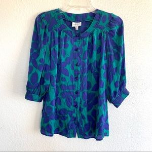Milly Vintage 100% Silk Button Up Leaf Print Top